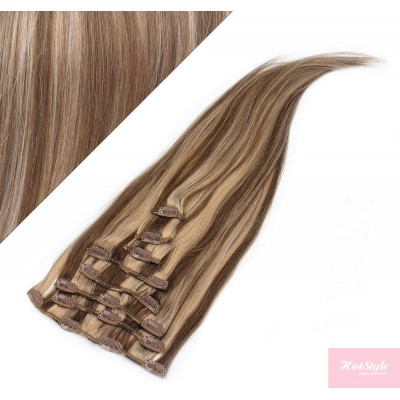 "15"" (40cm) Clip in human REMY hair 100g - dark brown/blonde"