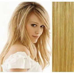 """15"""" (40cm) Clip in human REMY hair 100g - light blonde/natural blonde"""