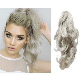 "Clip in ponytail wrap / braid hair extension 24"" wavy - silver"