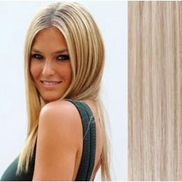 "28"" (70cm) Clip in human REMY hair - platinum/light brown"