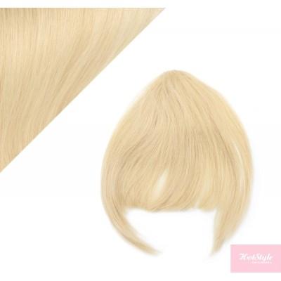 Clip in human hair remy bang/fringe - the lightest blonde