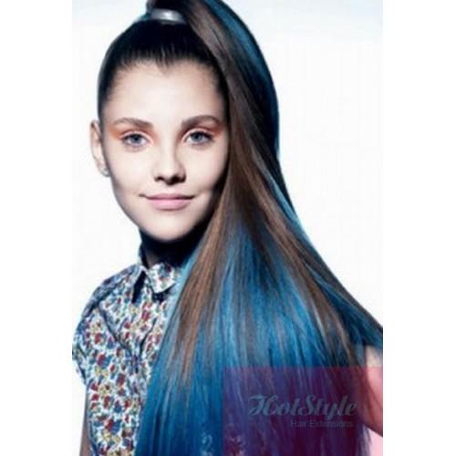"20"" (50cm) clip in human hair streak – blue"