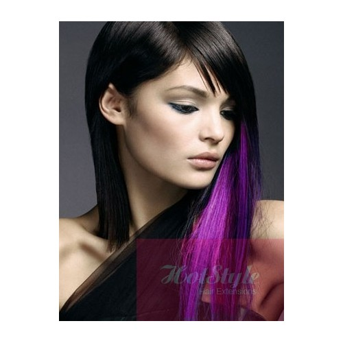 20 50cm Clip In Purple Human Hair Streak