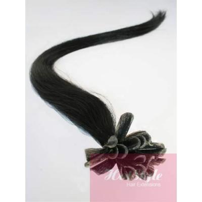 "16"" (40cm) Nail tip / U tip human hair pre bonded extensions - black"