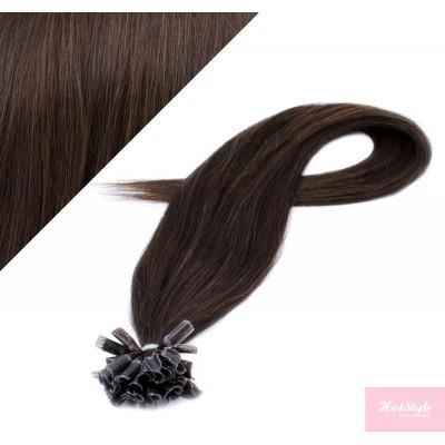 """16"""" (40cm) Nail tip / U tip human hair pre bonded extensions - dark brown"""