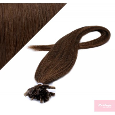 "16"" (40cm) Nail tip / U tip human hair pre bonded extensions - medium brown"