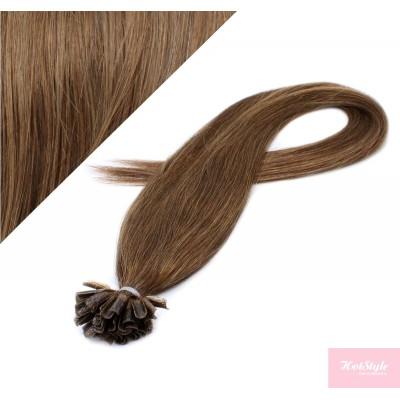 "16"" (40cm) Nail tip / U tip human hair pre bonded extensions - medium light brown"