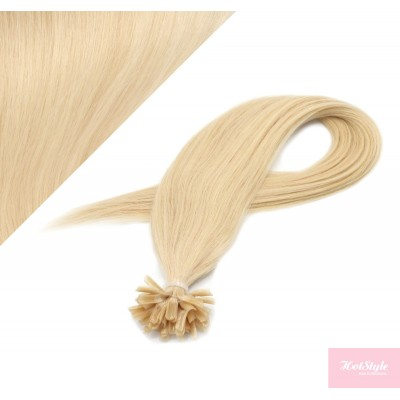 "16"" (40cm) Nail tip / U tip human hair pre bonded extensions - the lightest blonde"