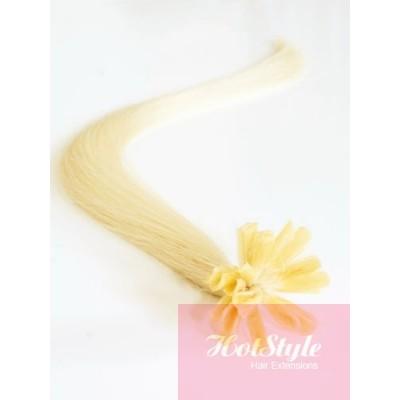 "16"" (40cm) Nail tip / U tip human hair pre bonded extensions - the lightest blonde"