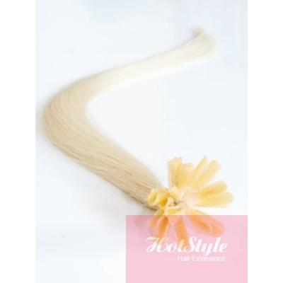 "16"" (40cm) Nail tip / U tip human hair pre bonded extensions - platinum blonde"