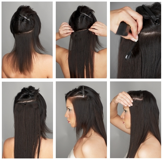 How to apply hair extensions hotstyle clip in hair application pmusecretfo Images
