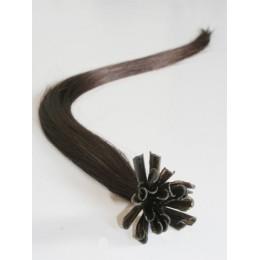 """24"""" (60cm) Nail tip / U tip human hair pre bonded extensions – dark brown"""