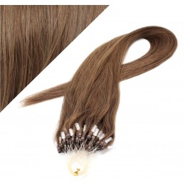 "24"" (60cm) Micro ring human hair extensions - medium light brown"