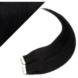"""24"""" (60cm) Tape Hair / Tape IN human REMY hair - black"""