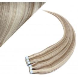 "24"" (60cm) Tape Hair / Tape IN human REMY hair - platinum/light brown"
