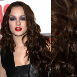 "20"" (50cm) Clip in wavy human REMY hair - dark brown"