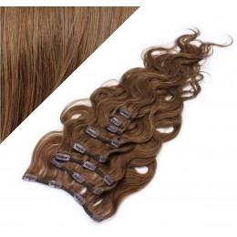 "20"" (50cm) Clip in wavy human REMY hair - medium brown"