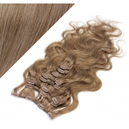 """20"""" (50cm) Clip in wavy human REMY hair - light brown"""