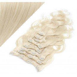 "20"" (50cm) Clip in wavy human REMY hair - platinum blonde"