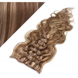 """20"""" (50cm) Clip in wavy human REMY hair - dark brown/blonde"""