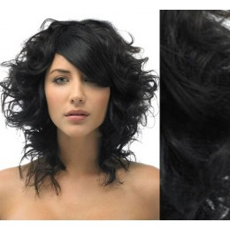 """20"""" (50cm) Clip in curly human REMY hair - black"""