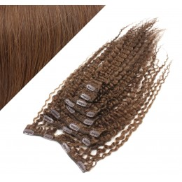 "20"" (50cm) Clip in curly human REMY hair - medium brown"