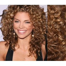 """20"""" (50cm) Clip in curly human REMY hair - light brown"""