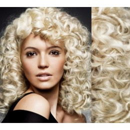 """20"""" (50cm) Clip in curly human REMY hair - platinum blonde"""