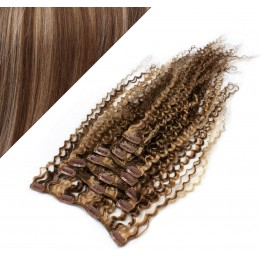 "20"" (50cm) Clip in curly human REMY hair - dark brown / blonde"