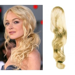 "Clip in ponytail wrap / braid hair extension 24"" wavy – the lightest blonde"