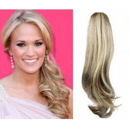 "Clip in ponytail wrap / braid hair extension 24"" wavy - platinum / light brown"
