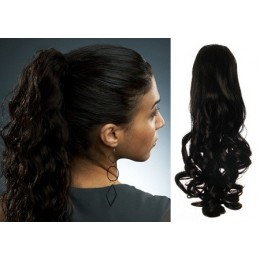 "Clip in ponytail wrap / braid hair extension 24"" curly – black"