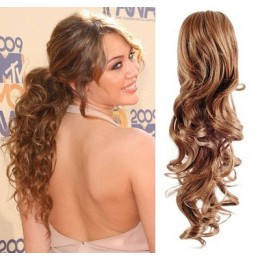 "Clip in ponytail wrap / braid hair extension 24"" curly – light brown"