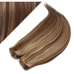"15"" (40cm) Deluxe clip in human REMY hair - dark brown / blonde"