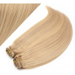 "15"" (40cm) Deluxe clip in human REMY hair - light blonde / natural blonde"