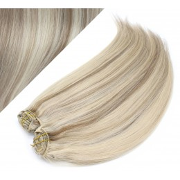 "15"" (40cm) Deluxe clip in human REMY hair - platinum / light brown"