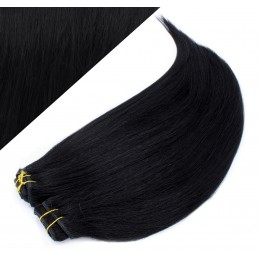 "24"" (60cm) Deluxe clip in human REMY hair - black"
