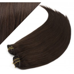 "24"" (60cm) Deluxe clip in human REMY hair - dark brown"