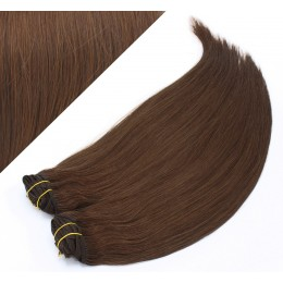 """24"""" (60cm) Deluxe clip in human REMY hair - medium brown"""
