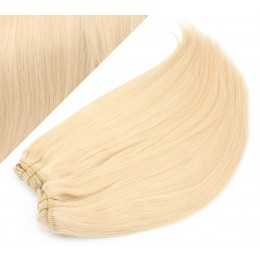 """24"""" (60cm) Deluxe clip in human REMY hair - the lightest blonde"""