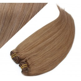 "28"" (70cm) Deluxe clip in human REMY hair - light brown"