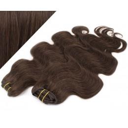 "20"" (50cm) Deluxe wavy clip in human REMY hair - dark brown"