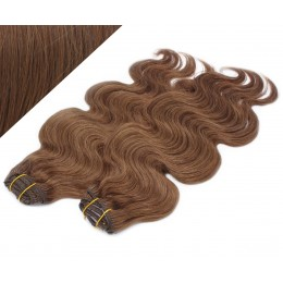 """20"""" (50cm) Deluxe wavy clip in human REMY hair - medium brown"""