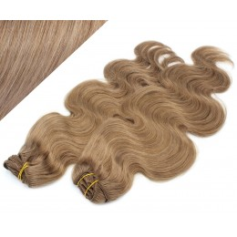 """20"""" (50cm) Deluxe wavy clip in human REMY hair - light brown"""