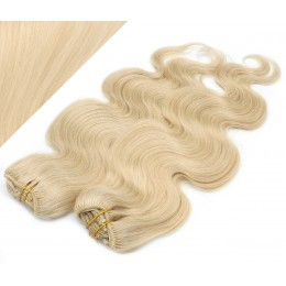 """20"""" (50cm) Deluxe wavy clip in human REMY hair - the lightest blonde"""