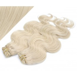 """20"""" (50cm) Deluxe wavy clip in human REMY hair - platinum blonde"""