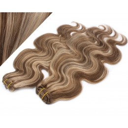 "20"" (50cm) Deluxe wavy clip in human REMY hair - dark brown/blonde"