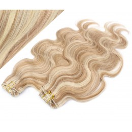 """20"""" (50cm) Deluxe wavy clip in human REMY hair - mixed blonde"""