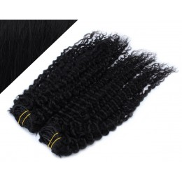 "20"" (50cm) Deluxe curly clip in human REMY hair - black"