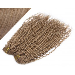"20"" (50cm) Deluxe curly clip in human REMY hair - light brown"